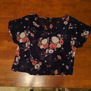 Torrid Navy Floral Sheer Top Size 0